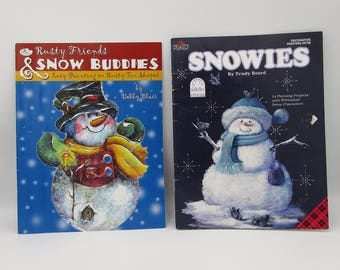 2 Fall and winter decor project painting books, Snowmen, Halloween, Christmas how to paint project books, tole painting book, winter season