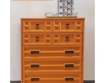 Vintage Retro Dresser High Gloss Tangerine With Gold Brushed Hardware,  Campaign Style Hardware