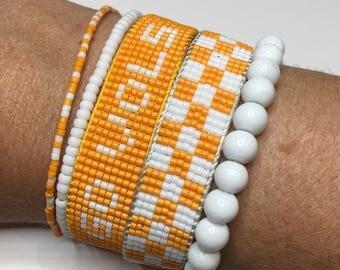 Tennessee Volunteers bracelet, Vols bracelet, Tennessee jewelry, SEC bracelet, beaded bracelet, College jewelry