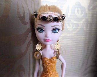 Monster High Ever After fashion doll headpiece renaissance medieval forehead crown, ooak one of a kind doll accessories made in USA