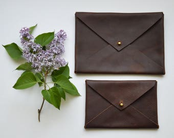 Classic leather envelope clutch, modern minimalist style
