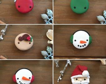 Ready-to-Ship, Handmade, Hand Sculpted, Christmas, Snowman, Santa, Ornament, Gingerbread, Kawaii, 2 Pack, Bulletin Board Magnet Set