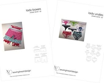 Double set. Lady Undies/Boxers Lingerie. Size 32-34 - 60 (XS - 4XL)
