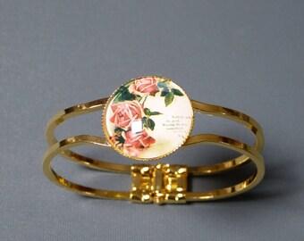 Vintage pink cabochon bracelet