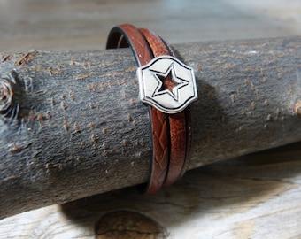 Men leather bracelet star