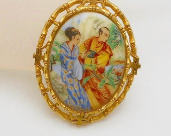 Vintage Signed Art Asian Design Porcelain Bamboo-Style Frame Brooch/Pin