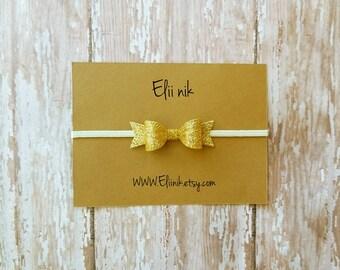 Glitter baby bow headband, gold glitter headband, glitter bow , baby headband, bow headband , gold bow headband , gold glitter bow headband