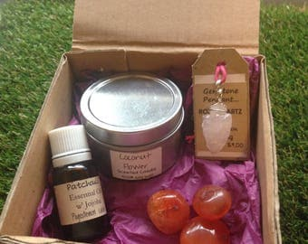 Gift Pack of Rose Quartz /Carnelian Soy Candle & E.Oil Blend