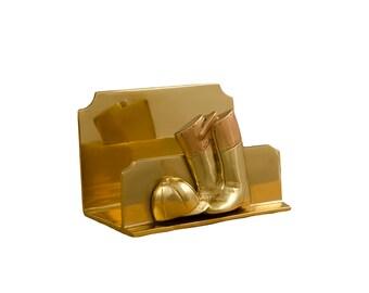 Vintage Solid Brass Horse Letter Holder