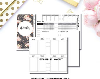 Personal Wide Rings Size | OCT - DEC 2017 | Week on 2 Pages (Monday Start) Vertical Printable TN Insert