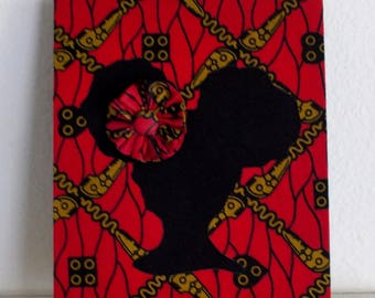 African Wax Red Abstract Print Girl's 8x10 Fabric Art