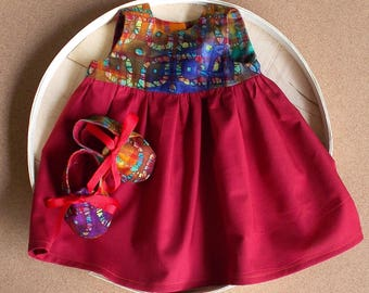 Indian Batik Kaleidoscope Diamond Orange /Purple and Maroon PrInt Infant Dress & Booties