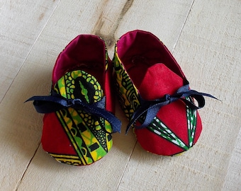 Red Yellow Green African Wax Print Baby Booties