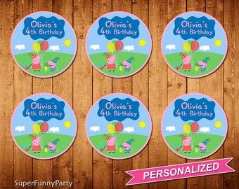 Peppa Pig Cupcake Toppers, Peppa Pig Printable, Personalized, Digital File