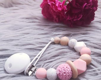 Crochet dummy clip / Pacifier clip / Gift for Baby / Soother clip / Baby Girl / Pacifier / Baby shower gift /