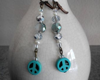 Silver, Pearl and Turquoise Peace Dangle Earrings
