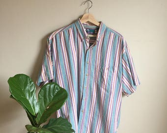 vintage multicolor collared button down shirt
