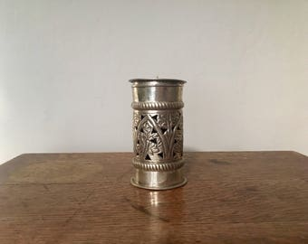 Tin Candleholder with Hammered Design