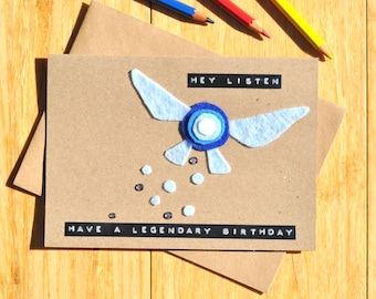 Zelda birthday card | Navi | Hey listen! | Handmade felt and adhesive gem design | 3D