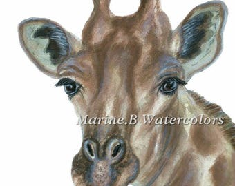 Watercolor Giraffe Art Print 8 x 10 in