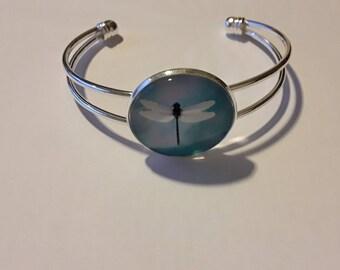 Silver metal cap 25mn Dragonfly bracelet