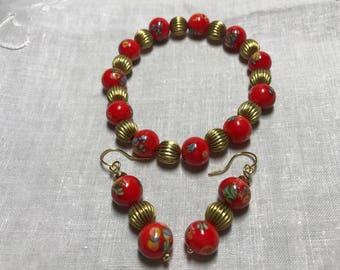 Red and brass stretch bracelet, Japanese bead bracelet, brass bracelet