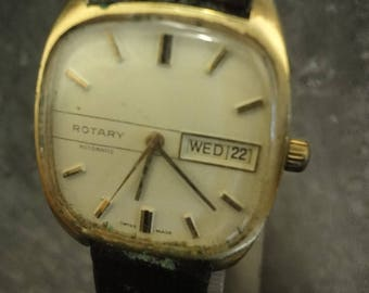 Vintage Rotary Automatic wrist watch with date aperture and black leather strap