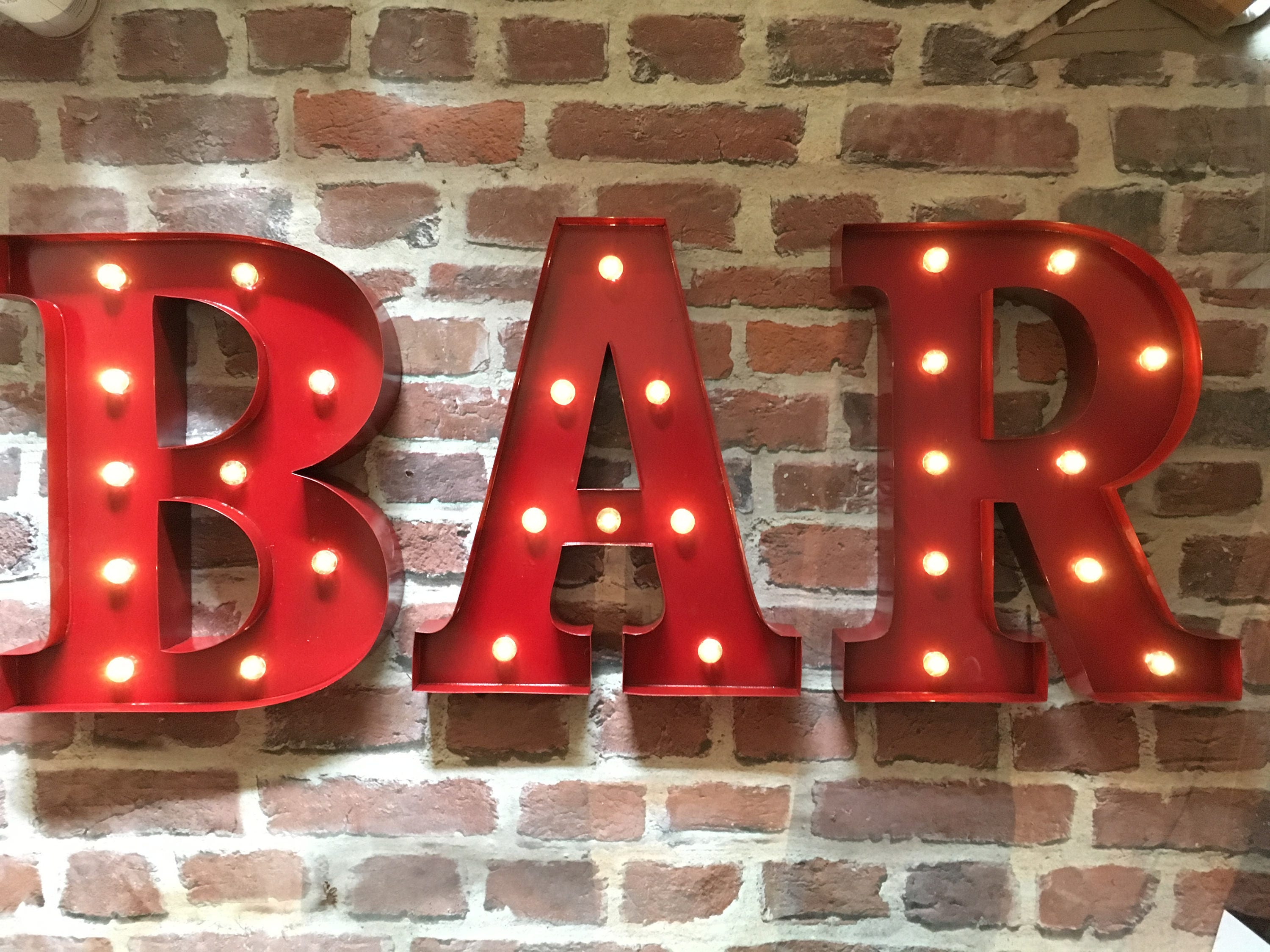 Red Metal Letters With Lights Led Carnival Circus Light Up Large 33 Cm Red Metal Letters  Bar