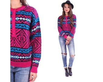 Aztec Patterned Sweater 80s Vintage Pullover Hot Pink Blue Black Winter Wool Jumper Women Knitwear Abstract Geometric Tribal Small