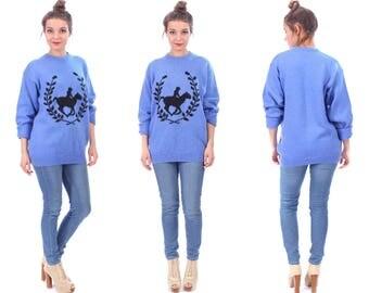 MERINO Wool Sweater Blue 80s Black Horse Print Equestrian Jumper Knit Slouch 90s NORMCORE Long Sleeve Winter Boyfriend Sweater Gift Medium