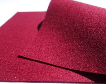 "100% Wool Felt Sheet in Color WINE - 18"" X 18"" Wool Felt Sheet - Merino Wool Felt - European Wool Felt"