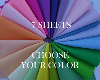 "100 Percent Wool Felt Sheets - 7 Sheets of 8"" X 12"" Felt - You Pick Color - Merino Wool Felt - 100% Wool Felt"
