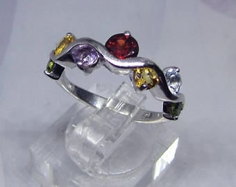 Multi-Gemstone Ring natural jewelry rhodium plated 925 sterling silver with different Semi precious Gemstones - Womens gift