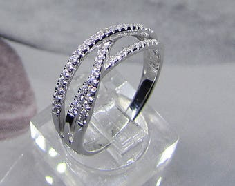 Ring in 925/1000 sterling silver with oxide of Zirconium size 50