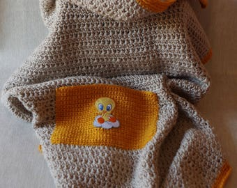 Crochet baby blanket, plaid, bedspread, courte-pointe, handmade, French wool, Bébé Nuage (Baby Cloud)