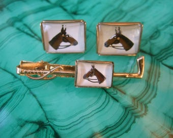 1950s Glass Equine Tie Bar & Cufflinks Set