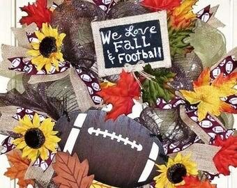 Football Wreath, Fall Wreath, Rustic Fall Wreath, Football door hanger, Football Fall Wreath, Wreath, Country Wreath