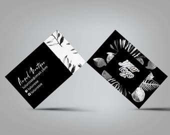 Leaves Black and White Business Card
