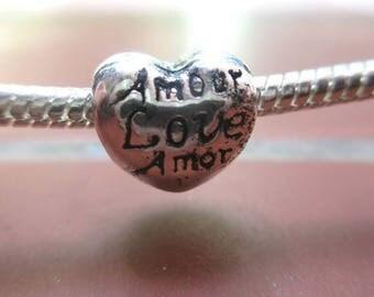 Charms / European bead inscription LOVE love love silver metal heart shape