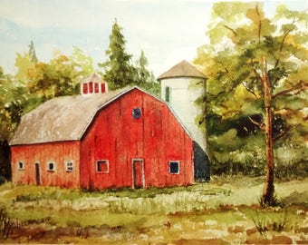 Landscape Painting, Original Watercolor Painting, Red Barn, Small Watercolor Painting, Barn Painting, Watercolor Landscape, Rural Landscape