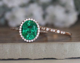 Engagement Ring, Bridal Ring Set, Rose Gold Created Emerald and Diamond Ring, 14k Rose Gold Emerald Ring, Wedding Ring Set, Diamond Band