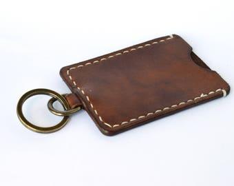 Reiser - Travel Card Keychain - Walnut - Handmade in UK