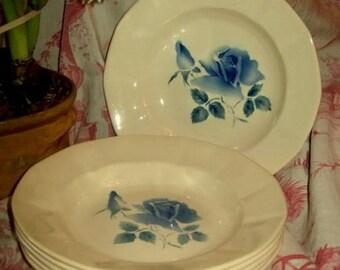 6 pretty plates antique rose design. Digoin/Sarreguemines faience.
