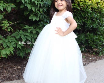 Ivory Lace Flower Girl Dress, Flower Girl Dress, Pagaent Dress, Ivory Flower Girl Dress, Girls Lace Dress, Ivory Lace Dress, Baptism Dress