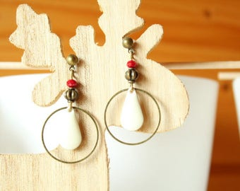 Earrings bronze sequin white cream and ring
