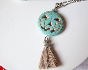 Blue howlite pumpkin head necklace