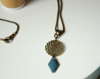 Watermark and midnight blue sequin rosette necklace