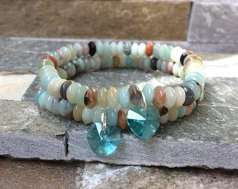 Friendship bracelets bracelet set girlfriends Amazonite Swarovski heart