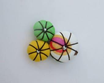 Japanese fabric flower brooch