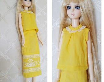 BJD, MSD, Doll outfit, Doll clothes, Doll dress.bjd dress , bjd yellow dress,  yellow two piece.